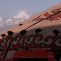 The morning view from our Yurt towards the Pamir mountains, Сары-Таш
