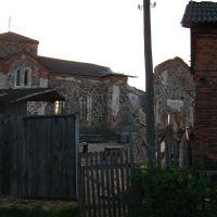 All Saints Orthodox Church in Biahomĺ. View througth the saw-mill, Бегомль