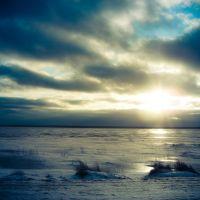 зимний закат над озером, Браслав