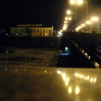 View from the bridge over Dźvina to the west bank in Viciebsk at night, Витебск