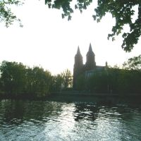 Church and lake in Miory, Миоры