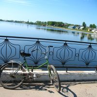 Bicycle at the bridge over Miory lake, Миоры