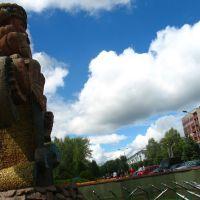 Fountain at Maladziožnaja street in Navapolack, Новополоцк