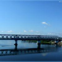 Чыгуначны мост разам з цягніком ... Railway bridge with train, Гомель