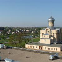 Вид на храм с крыши электросетей, Волковыск