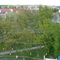 Смотрим на пл.Ленина с крыши электросетей, Волковыск