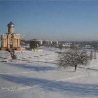 Зимний панорамный вид на Петропавловский собор, Волковыск