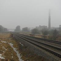 Железная дорога в тумане. Railway in fog., Сморгонь
