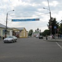 "the main crossroads and the shopping center ""Sadko"" (to the left), Сморгонь"