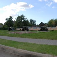WWII Cannons of the Red Army on Display in Center of the town of Kletsk, Клецк