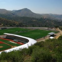 Sports grounds with baseball & soccer fields near La Valenciana mine, Guanajuato, Валле-де-Сантъяго