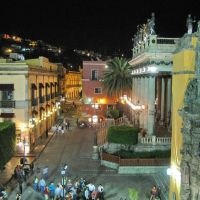 Plaza de la Unión, Juarez Theatre & Church, seen from the balcony of Hotel San Diego, Гуанахуато