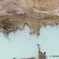 Milky water of Lake Tekapo (straight down) as we make downwind turn, Гор