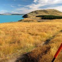 Route markers along the Tekapo Peninsula Walkway., Гор