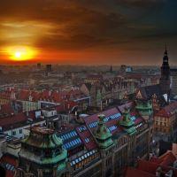 """Widok na zachód Wrocławia z """"Mostka Pokutnic"""" / View to the west of Wroclaw from """"Penitents Bridge"""", Вроцлав"""