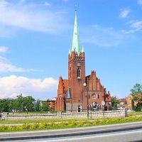 Legnica.Widok kościoła przy ul. Nadbrzeżnej.View Church Street. Embankment, Легница