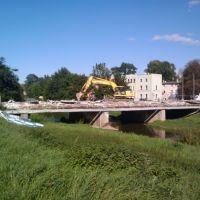 Strzelna Street - Bridge during renovation - Oława river view., Олава