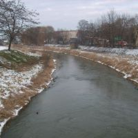 Rzeka Oława z mostu na ul.Strzelnej, Олава