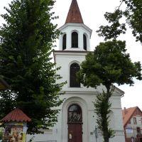 Brodnica -  Mały Rynek widoczny kościół p.w Matki Bożej Królowej Polski, Бродница