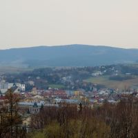 Gorlice - a downtown viewed from the WW I Military Cemetery no. 91. In the background Magura Małastowska Hill, Горлице