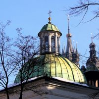 Kraków -Kościół Mariacki i Kościół Św.Wojciecha/Marys Church, and the Church of St. Wojciech, Краков (ш. ул. Галла)
