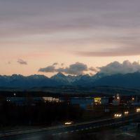 Panorama Tatr - widok z Nowego Targu., Новы-Тарг