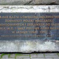Piaskowa 3 - tablica memoratywna, Воломин