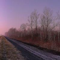 zimowy zachód nad rzeką Wisłoką, Мелец