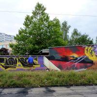 i to jest to...artyści niepokorni na rzecz...miasta,ściany garaży od strony torów kolejowych przy ul.Drzewieckiego., Мелец