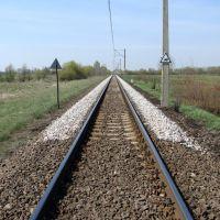 stary, nowy kruczeń tory kolejowe Knyszyn - Borsukówka (kwiecień 2009), Замбров