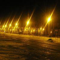 ul. Kościuszki zimową nocą (odcinek przy parku), Сувалки
