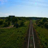 Widok z wiaduktu nad linią kolejową 211 w kierunku Chojnic, Прущ-Гданьски
