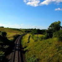 Linia kolejowa 201 w kierunku Gdyni z wiaduktu na linii 211, Румия