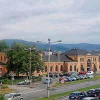 Bielsko Biala, Poland - railway station building , view from the street, Белско-Бяла