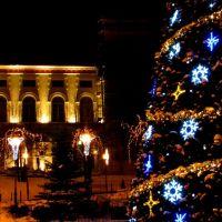 Bielsko Biała. Christmas tree and Castle by night., Белско-Бяла