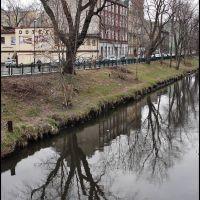 GLIWICE. Kłodnica z mostu z ul. Dworcowej/Klodnica river from the bridge. Dworcowa street., Гливице