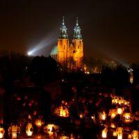 Katedra gnieźnieńska widok z cmentarza św. Piotra. 02.11. 2011 r., Конские
