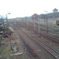 Widok na stację PKP z wiaduktu w Gnieźnie, Конские