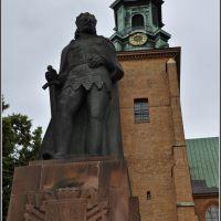 Pomnik Bolesława Chrobrego, w głębi bazylika archikatedralna Wniebowzięcia NMP i św. Wojciecha ¦ pilago, Сандомерж