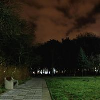 Ławeczka w parku nadmorskim nocą., Колобржег