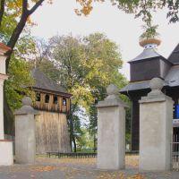 Tomaszów Lub. - stary kościół modrzewiowy i dzwonnica, Томашов Любельски
