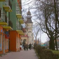 Ulica Piłsudskiego - w tle ratusz, Томашов Любельски
