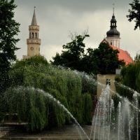 Tower Hall and the Franciscan church above the pond Barlickiego / Wieża ratusza i kościoła franciszkanów znad stawku Barlickiego, Бржег