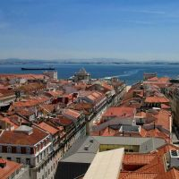 Lisbon view on the elevator Santa Justa, Лиссабон