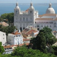 View at monastery of São Vicente de Fora and  at the church of Santa Engrácia  from Castelo de São Jorge , Lisbon, Portugal, Лиссабон
