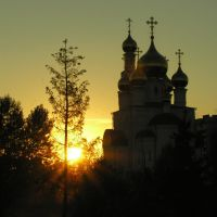 Cathedral of Transfiguration of Jesus at sunset, Абакан
