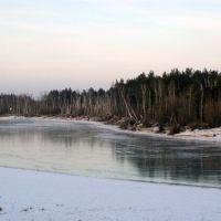 Первый лед. Вид на реку Конда от третьего микрорайона., Урай
