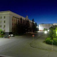 Площадь советов ночью, Барнаул