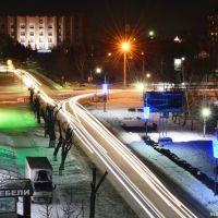 Пересечение ул. Ленина & Коммунарского. Night, Бийск