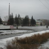 Фонтан и администрация на Площади Мира, Волчиха